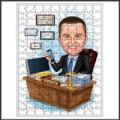 Karikatür baskılı ahşap puzzle