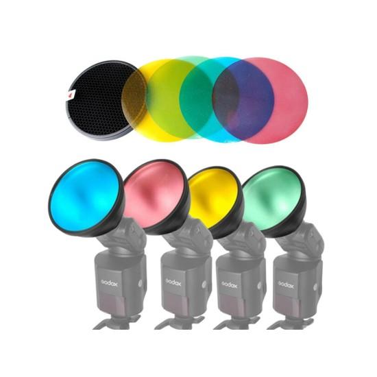 Godox AD200 Renkli Jel Paketi ve Reflektör Izgarası