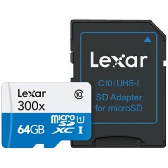 Lexar 64GB MICROSDHC 300X (Class 10) U1