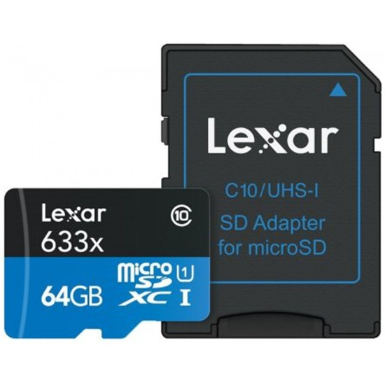 Lexar 64GB microSDHC UHS-I High Speed 633x with Adapter (Class 10)