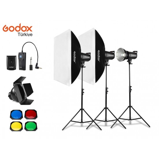 Godox SK400II 400 Watt 3'lü Stüdyo Paraflaş Seti-Paraflaş setler